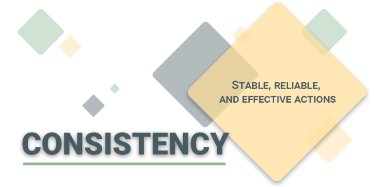 Consistency: stable, reliable, and effective actions.