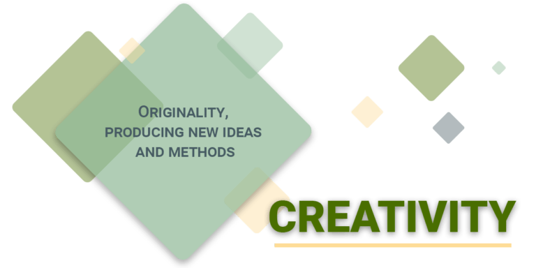 Creativity: originality, producing new ideas and methods.
