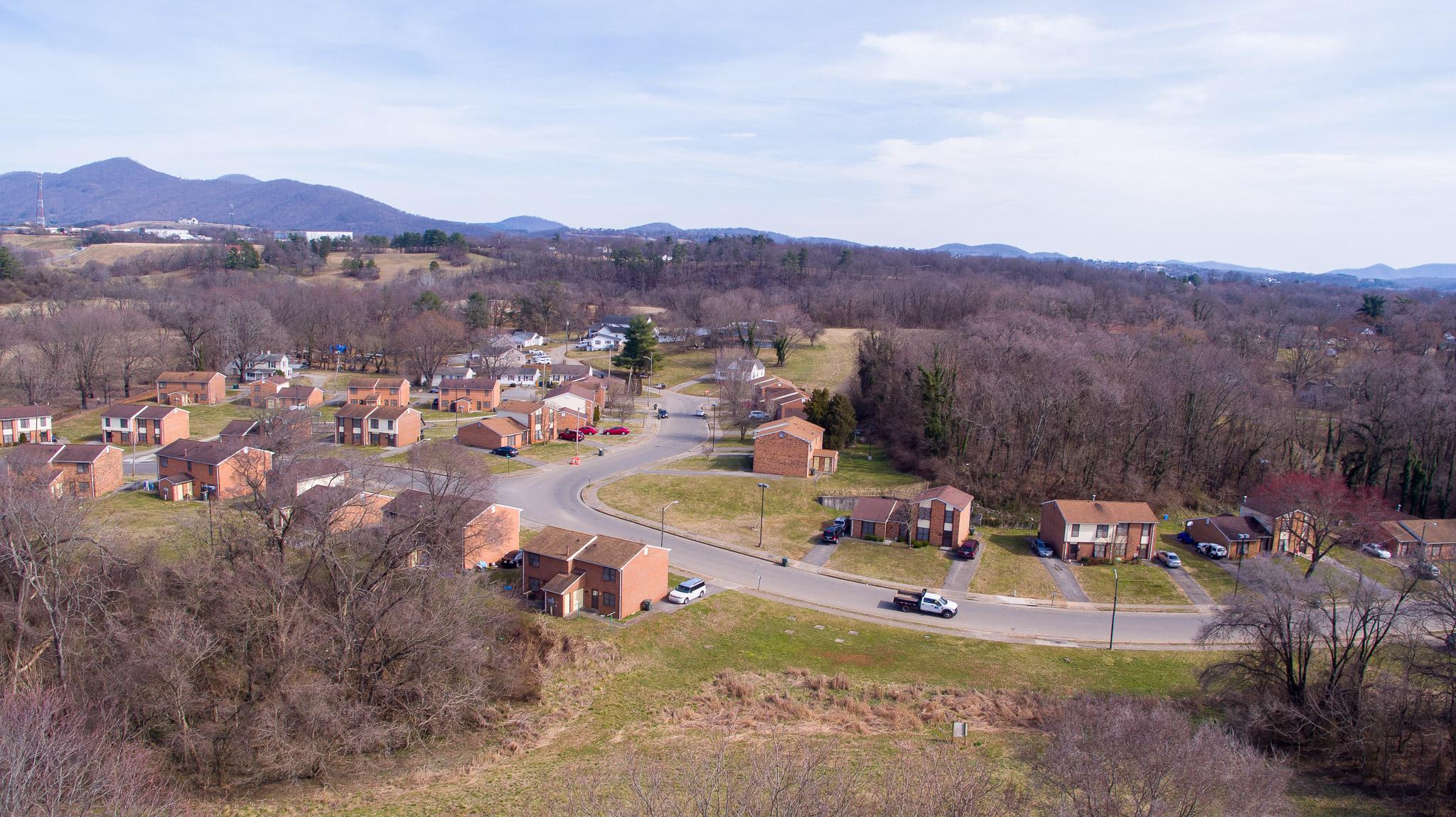 Aerial shot of Blue Stone Park.