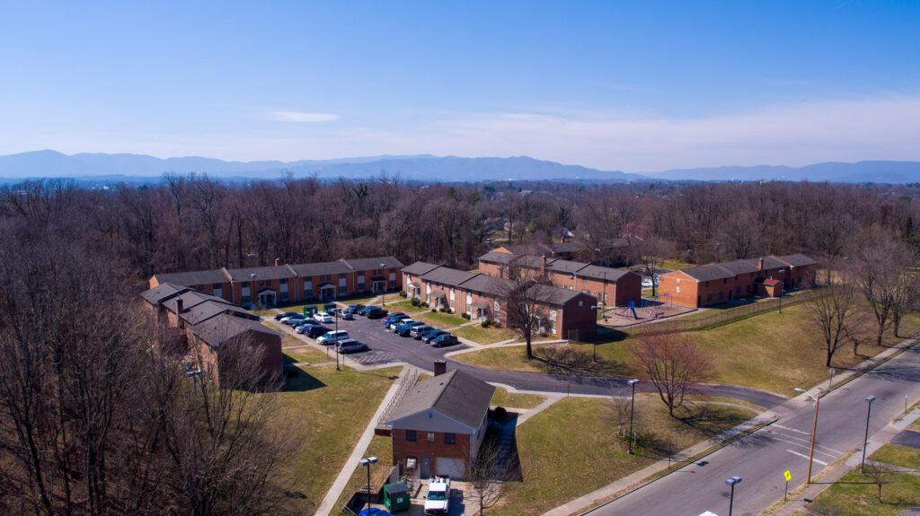 Aerial shot of Hunt Manor.