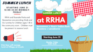 Summer Lunch at RRHA @ Jamestown, Indian Rock, Lansdowne, Hunt and Bluestone